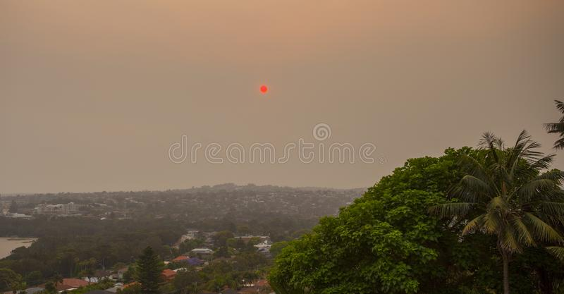 Red Sunset during bush fire emergency in Australia stock photos