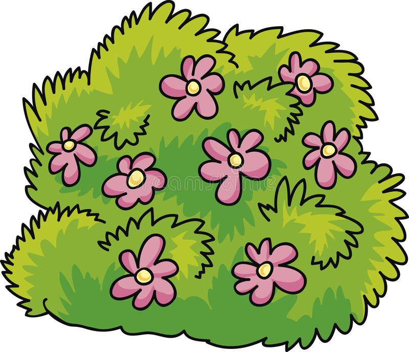 Bush with flowers. Cartoon Illustration of green bush with pink flowers