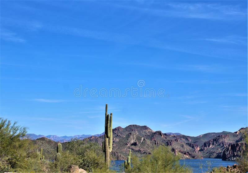 Bush Highway, Saguaro Lake, Tonto National Forest, Maricopa County, Arizona, United States. Scenic view of Saguaro Lake, mountains and vegetation off Bush royalty free stock photography