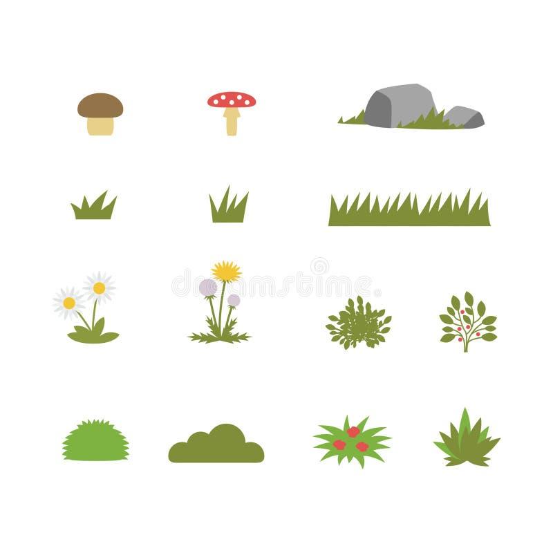 Bush och blommasymbolsuppsättning royaltyfri illustrationer