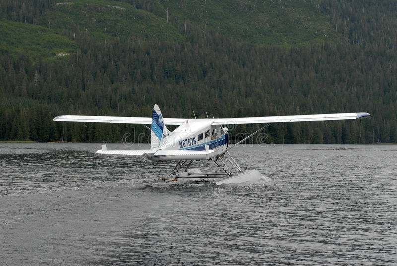 A bush plane performs taxi in in Alaska. royalty free stock images