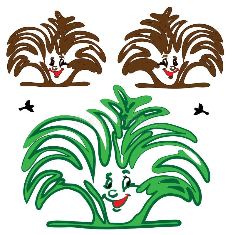 BUSH rośliny MULTIFILM uśmiech royalty ilustracja