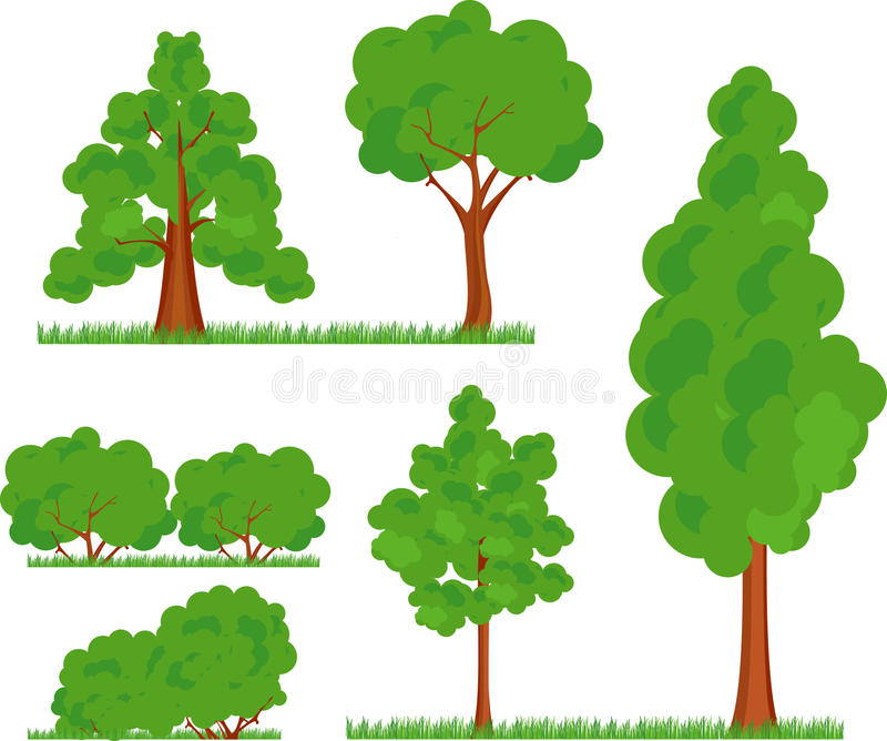 Bush trees grass royalty free illustration