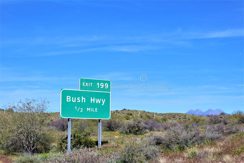 Bush-Weg, Saguaro-Meer, het Nationale Bos van Tonto, Maricopa-Provincie, Arizona, Verenigde Staten royalty-vrije stock foto