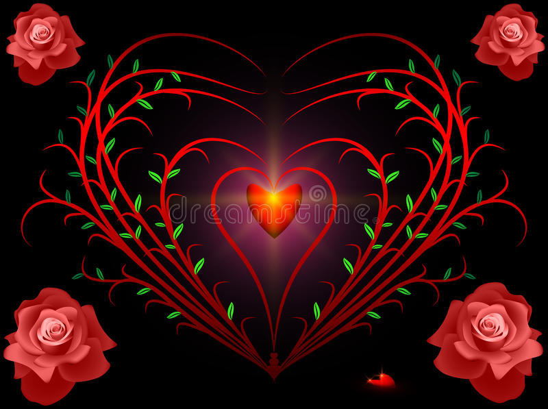 Bush y rosas stock de ilustración