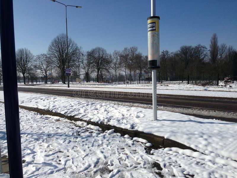 Bushalte busstop. Catharinastraat oost-maarland eijsden snow winter royalty free stock photography