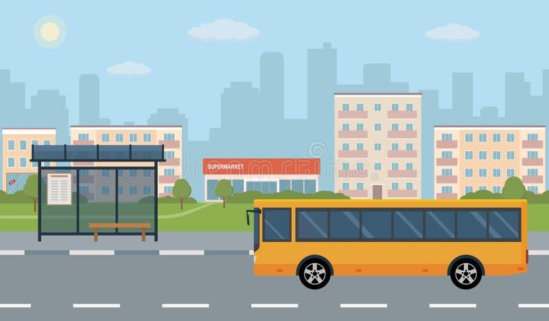 Bushalte en bus op stadsachtergrond royalty-vrije illustratie