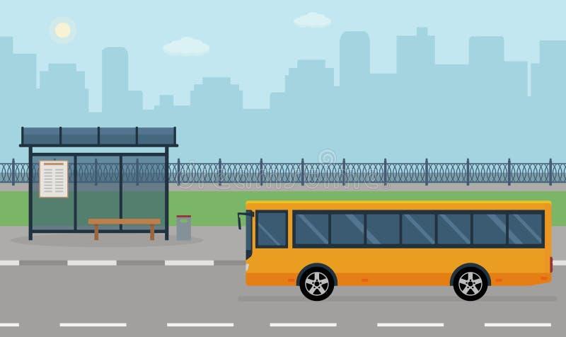 Bushalte en bus op stadsachtergrond vector illustratie