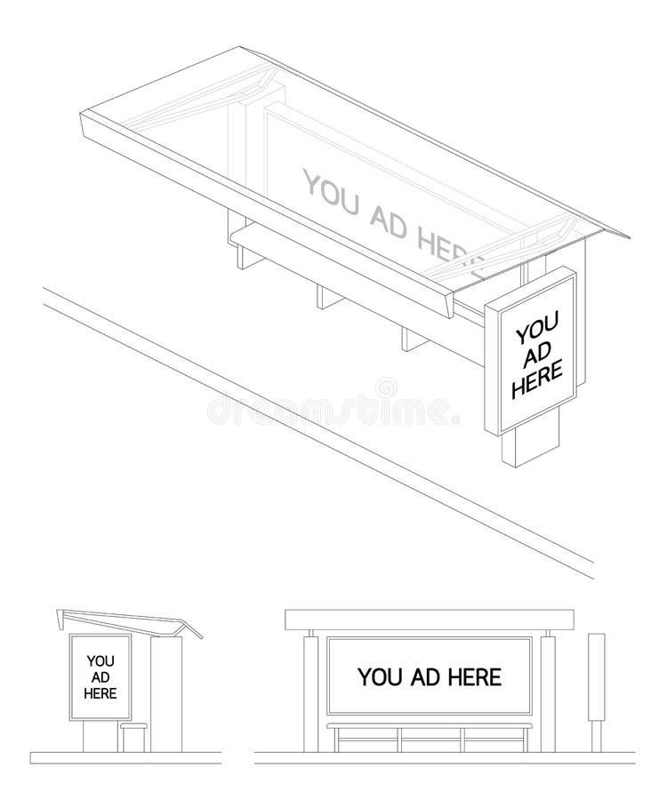 Bushalte het lege 3d hoogste perspectief van het reclameaanplakbord, voor en geïsoleerde zijaanzicht zwart-witte kleur royalty-vrije illustratie