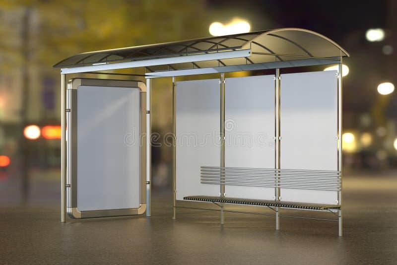 Bushalte met de reclame van panelen op de nachtstad vage achtergrond het 3d teruggeven stock illustratie