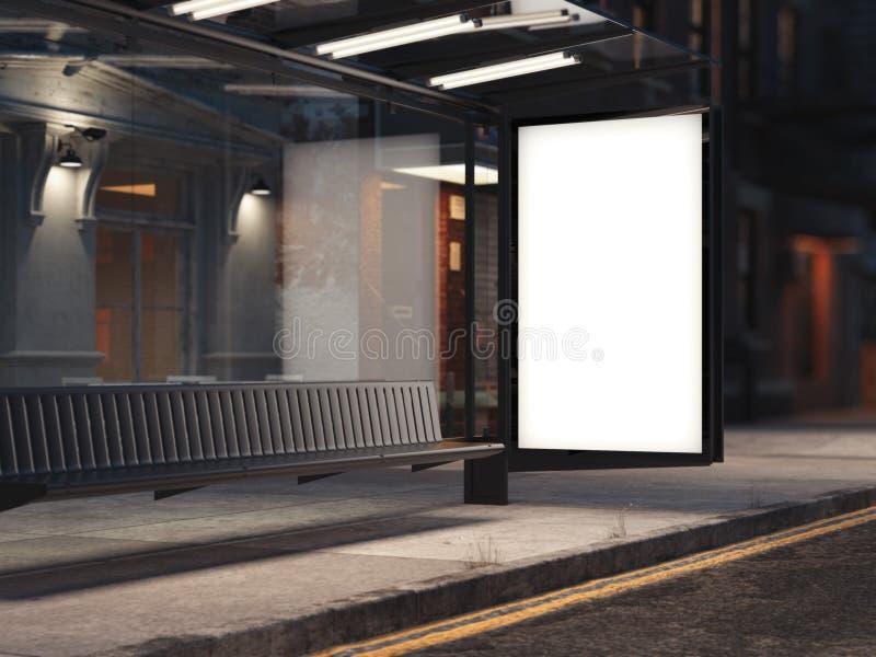 Bushalte met een gloeiende lege banner op de straat het 3d teruggeven vector illustratie