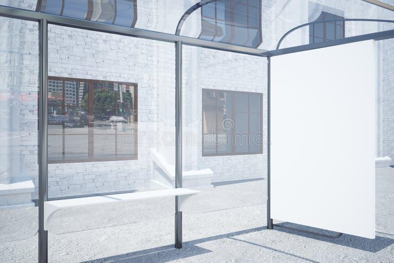 Bushalte met lege whiteboardkant vector illustratie