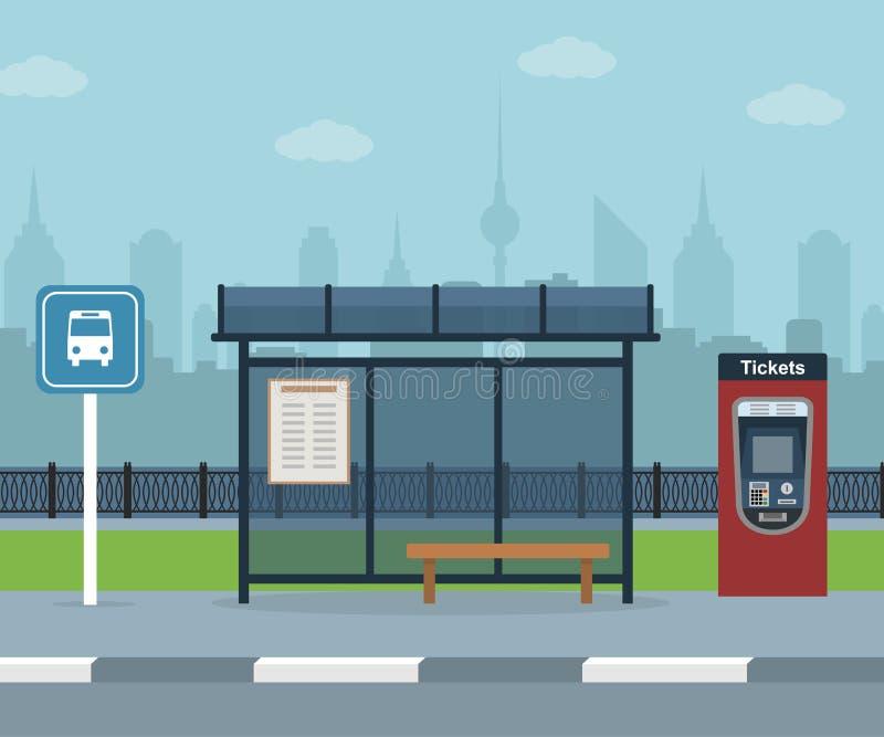 Bushalte met stadsachtergrond vector illustratie