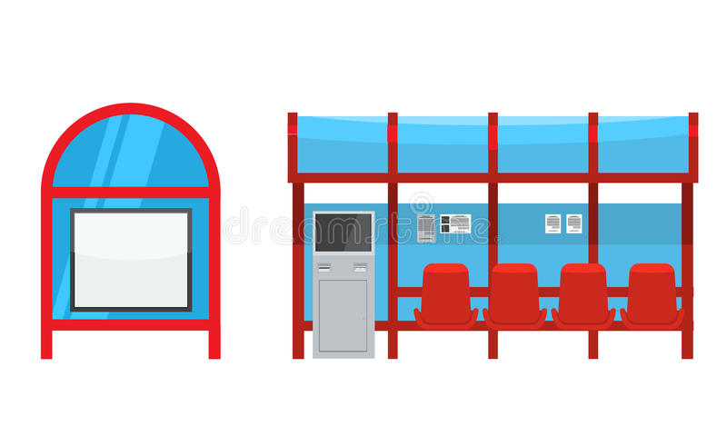 Bushalte met zetels en betalingskiosk Voor en zijaanzicht royalty-vrije illustratie