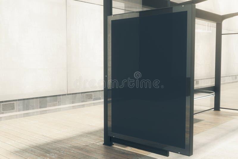 Bushalte met zwarte banner vector illustratie