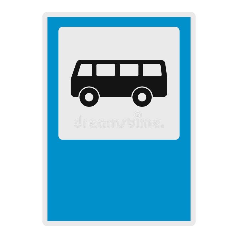 Bushaltepictogram, vlakke stijl stock illustratie