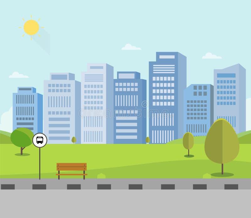 Bushaltestelle auf Hauptstraße mit Naturpark- und -stadthintergrund Allgemeiner Park mit buidings Sch?nes Stadtbild lizenzfreie abbildung