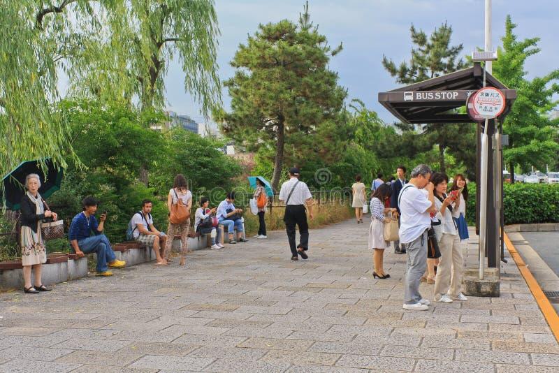 Bushaltestelle in Kyoto stockbild