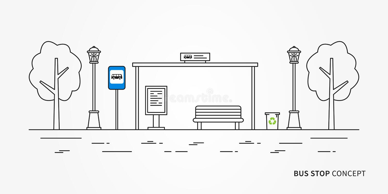 Bushaltestelle-Vektorillustration stock abbildung