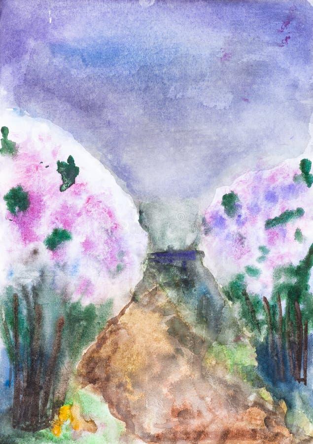 Bushes blooming lilacs along rural brown road vector illustration