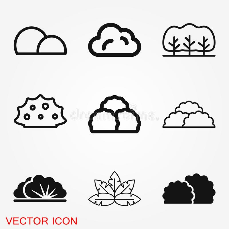 Bushes icon, vector silhouette isolated on backgorund royalty free illustration