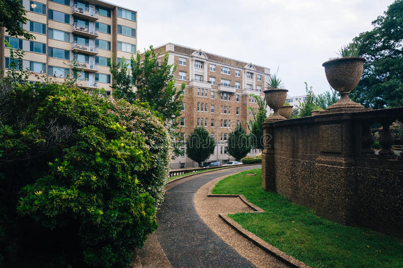Bushes and walkway at Meridian Hill Park, in Washington, DC. royalty free stock image