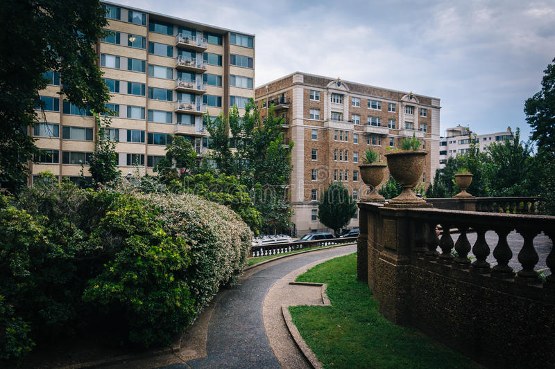 Bushes and walkway at Meridian Hill Park, in Washington, DC. royalty free stock photo