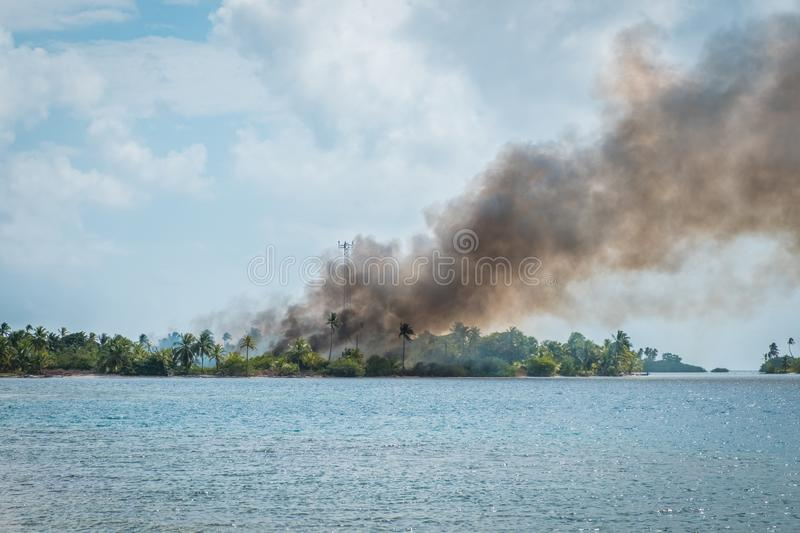 Download Bushfire, Black Smoke Above Burning Forest   Fire On Tropical Is  Stock Photo