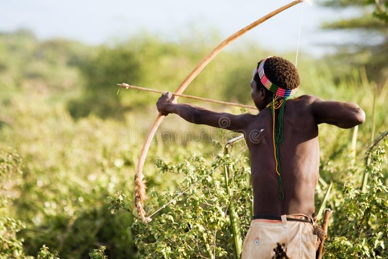 Bushman Hadzabe. LAKE EYASI, TANZANIA - FEBRUARY 18: An unidentified Hazabe bushman with bow and arrow during hunting on February 18, 2013 in Tanzania. Hazabe royalty free stock image