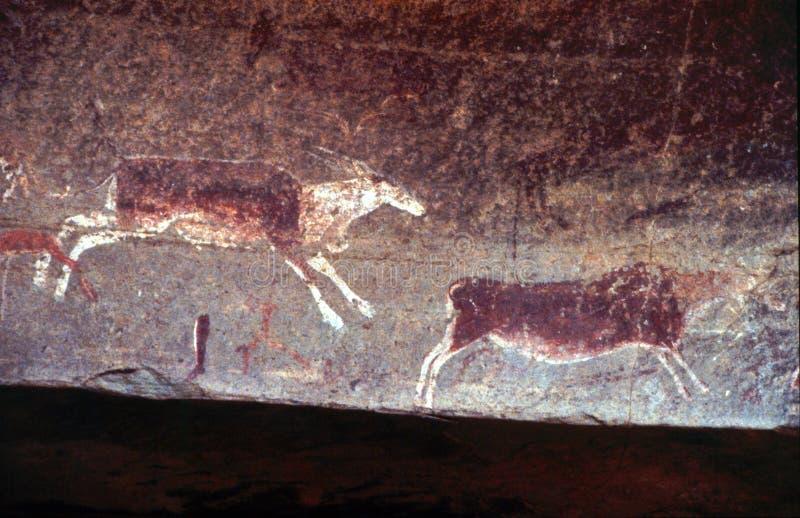 Bushmen (San) rock art in the Drakensberg KZN royalty free stock photos