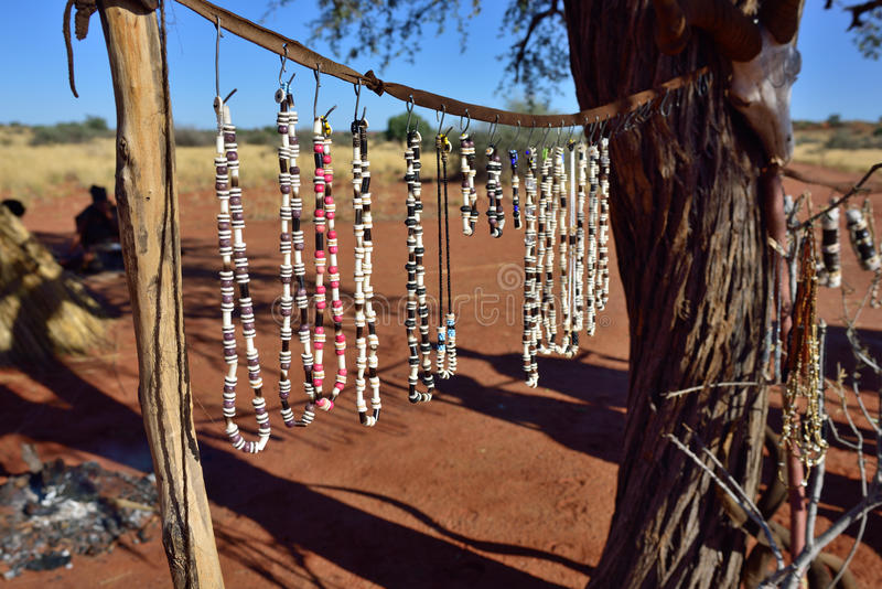 Bushmens village, Kalahari desert, Namibia. Handmade bijouterie in bushmens village. The San people, also known as Bushmen are members of various indigenous royalty free stock image