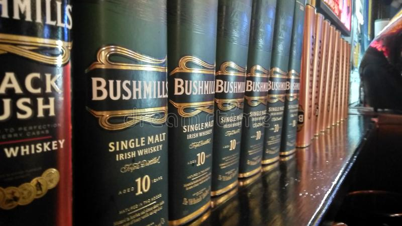Bushmills. Whiskey gift pack in line royalty free stock photo