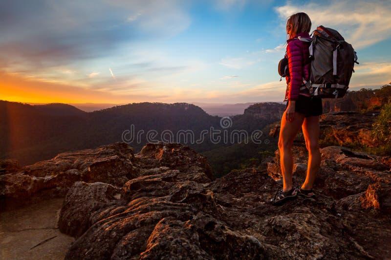 Bushwalker på en vandring i övreblåa berg som ska nås en höjdpunkt royaltyfri foto