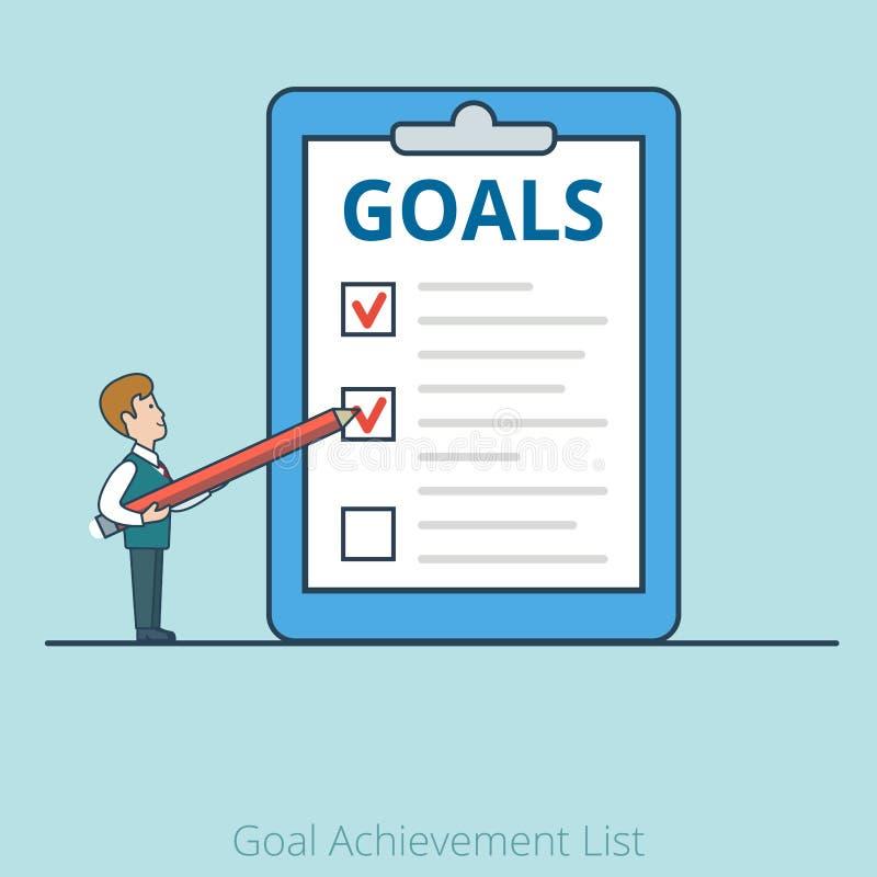 Busi plat linéaire de Goal Achievement List d'homme d'affaires illustration de vecteur