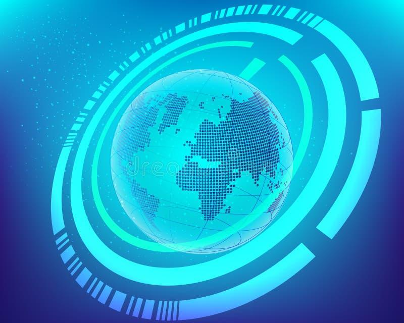 Busi sem fio da conexão de Internet do interruptor do cyber do mapa do mundo ilustração stock