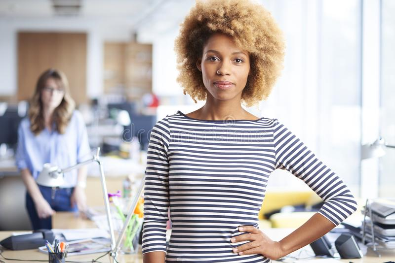 Busiensswoman in the office. A confident young afro-american marketing assistant businesswoman standing in the office royalty free stock photo