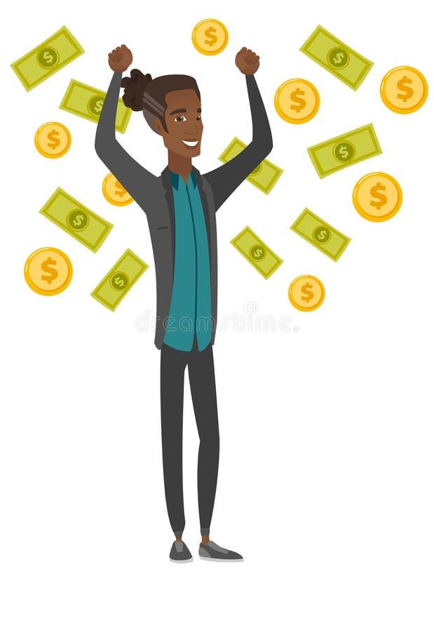 Busiessman afroamericano joven debajo de la lluvia del dinero ilustración del vector