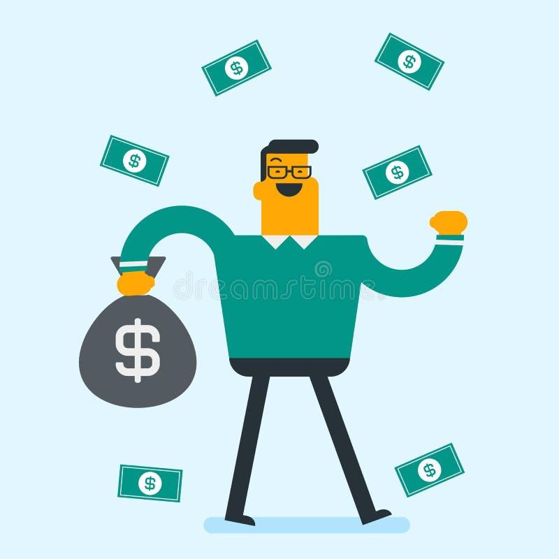 Busiessman blanc caucasien heureux sous la pluie d'argent illustration libre de droits