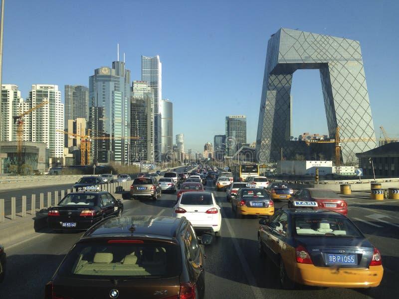 Busiest road in Beijing. Beijing, China - November 28, 2013 ; One of the busiest road in Beijing passing through CCTV building royalty free stock image