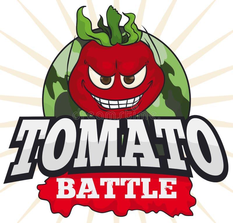 Busig tomat över den militära knappen för en rolig tomatstrid, vektorillustration stock illustrationer