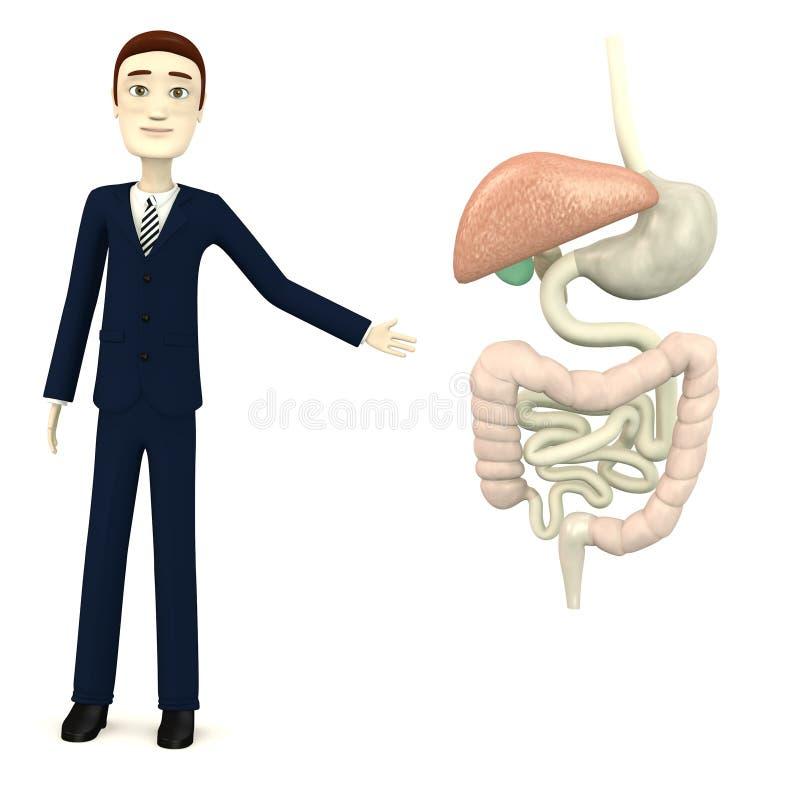 Busiinessman dos desenhos animados com sistema digestivo ilustração stock