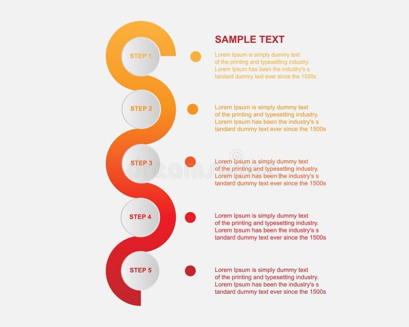 Businees infographic wektorowy projekt, szablony, element, linia czasu Praca proces wprowadzać na rynek teraźniejszość lub układ ilustracja wektor