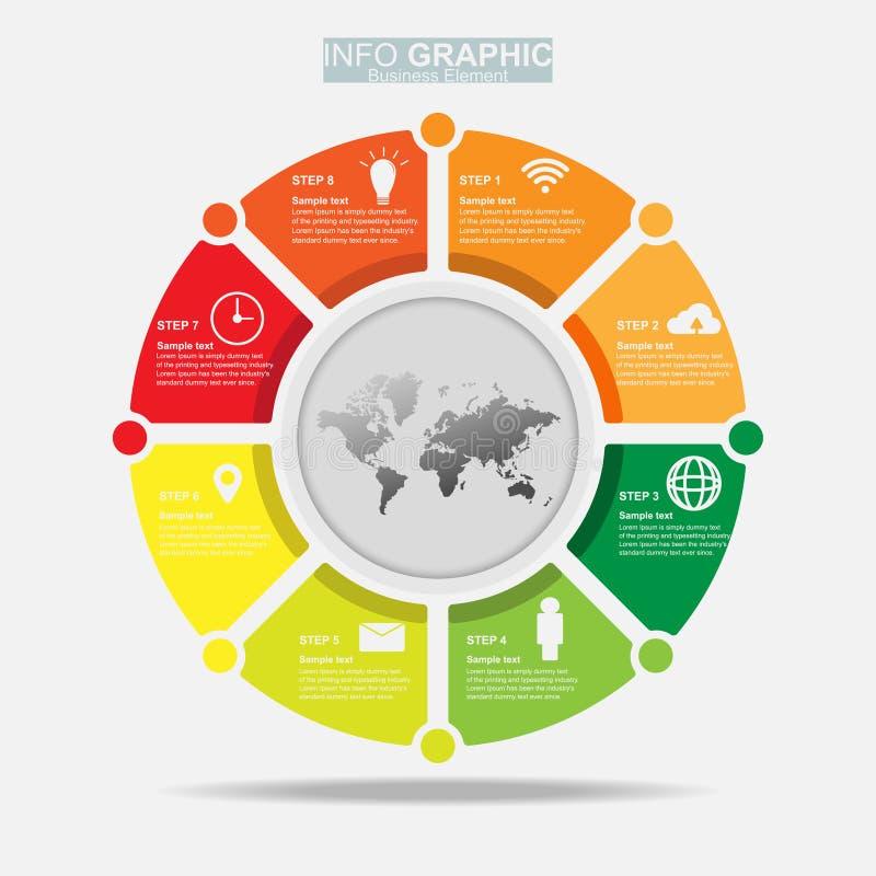 Businees infographic wektorowy projekt, szablony, element, linia czasu Praca proces wprowadza? na rynek tera?niejszo?? i uk?ad ilustracja wektor