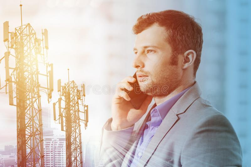 Busineesman on phone call for modern Telecommunication technology. For business concept stock photo