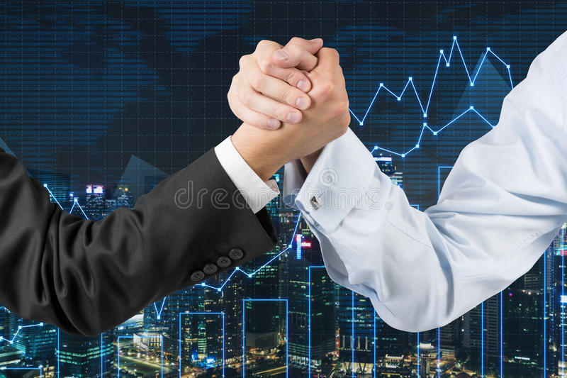 Busines arm wrestling. Businessmen engaged in arm wrestling on graph background stock images