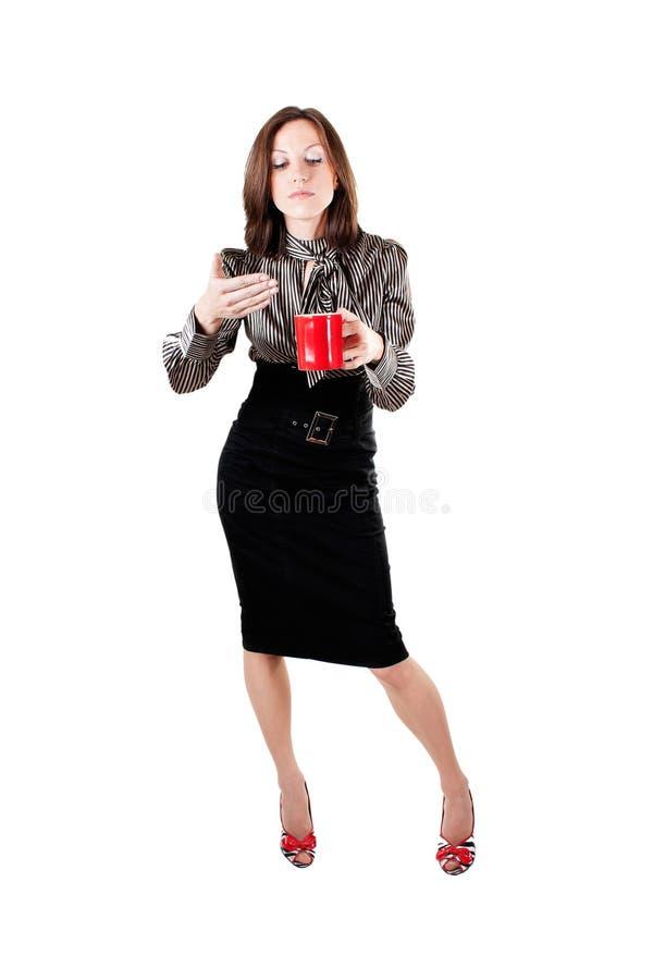 Busines swoman met een kop van koffie royalty-vrije stock afbeelding