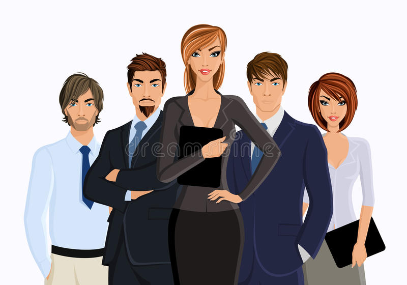 Busines woman with business team. Group of business people busines woman with team isolated on white vector illustration stock illustration