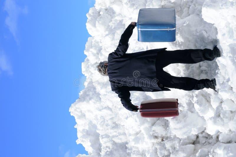 Businesman com 2 casos em um monte da neve imagem de stock royalty free