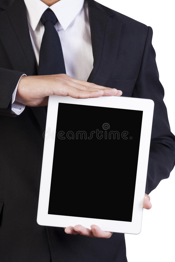 Businesman hold tablet on hand