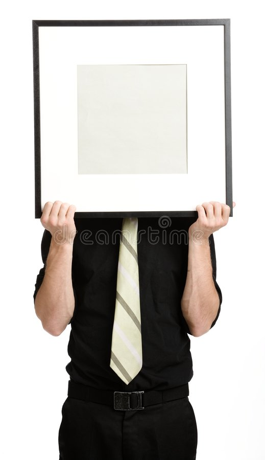 Businesman with white panel stock image